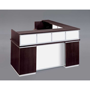"DMi Pimlico Left Reception Desk w/White Glass Modesty Panel 72""W x 84""D x 42""H, Mocha, Unassembled"