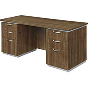 "DMi Pimlico Kneehole Credenza with Flat Ends 70""W x 24""D x 30""H Walnut Assembled"