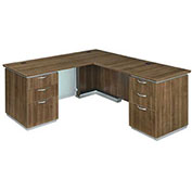 "DMi Right Executive L Desk 66""W x 78""D x 30""H Walnut Unassembled - Pimlico Series"