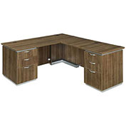 DMi Right Executive L Desk with Laminate Modesty Panel Walnut Unassembled - Pimlico Series