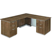"DMi Left Executive L Desk 66""W x 78""D x 30""H Walnut Unassembled - Pimlico Series"