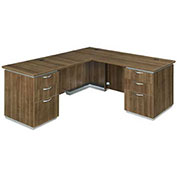 DMi Left Executive L Desk with Laminate Modesty Panel Walnut Unassembled - Pimlico Series