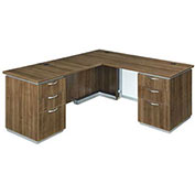 DMi Left Executive L Desk with White Modesty Panel Walnut Unassembled - Pimlico Series