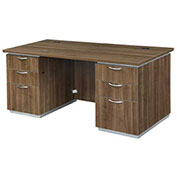 "DMi Executive Desk w/ Laminate Modesty Panel 66""W x 30""D x 30""H Walnut Unassembled - Pimlico Series"