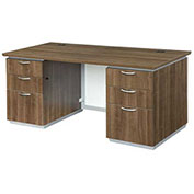"DMi Pimlico Executive Desk with White Modesty Panel 66""W x 30""D x 30""H Walnut Unassembled"
