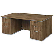 "DMi Pimlico Executive Desk with Laminate Modesty Panel 72""W x 36""D x 30""H Walnut Assembled"