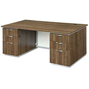 "DMi Pimlico Executive Desk with White Modesty Panel 72""W x 36""D x 30""H Walnut Unassembled"