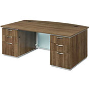 "DMi Pimlico Executive Desk with Bow Front 72""W x 42""D x 30""H Walnut Assembled"