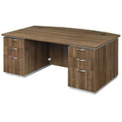 "DMi Executive Desk w/ Laminate Modesty Panel 72""W x 42""D x 30""H Walnut Unassembled - Pimlico Series"