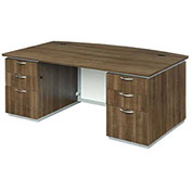 "DMi Executive Desk with White Modesty Panel 72""W x 42""D x 30""H Walnut Unassembled - Pimlico Series"