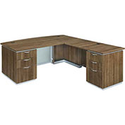 "DMi Pimlico Right Executive Bow Front L Desk 72""W x 90""D x 30""H Walnut Assembled"
