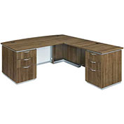 DMi Pimlico Right Executive Bow Front L Desk with White Modesty Panel Walnut Unassembled