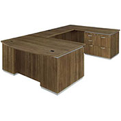 DMi Pimlico Right Personal File Bow Front U Desk with Laminate Modesty Panel Walnut Assembled