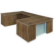 "DMi Pimlico Left Personal File Bow Front U Desk 72""W x 114""D x 30""H Walnut Assembled"