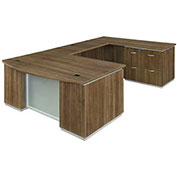 "DMi Pimlico Right Lateral File Bow Front U Desk 72""W x 114""D x 30""H Walnut Assembled"