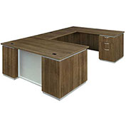 "DMi Pimlico Right Executive U Desk 72""W x 108""D x 30""H Walnut Unassembled"