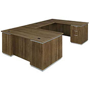 DMi Pimlico Right Executive U Desk with Laminate Modesty Panel Walnut Unassembled