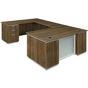 "DMi Pimlico Left Executive U Desk 72""W x 108""D x 30""H Walnut Assembled"
