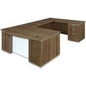 DMi Pimlico Left Executive Bow Front U Desk with White Modesty Panel Walnut Assembled