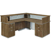 "DMi Pimlico Left Reception Desk 72""W x 84""D x 42""H Walnut Unassembled"