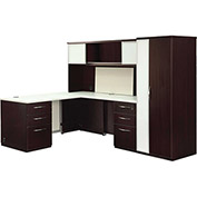 "Deluxe L Desk with White Tops 96""W x 66""D x 66""H Mocha Finish"
