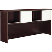 "DMI Overhead Hutch with Glass Doors -  72""W x 16""D x 36""H Mocha - Causeway Series"
