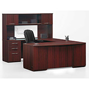 "DMI U Desk with Hutch - 72""W x 108""D x 66""H Mahogany  - Causeway Series"