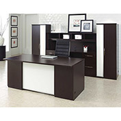 "Desk Office Suite 120""W x 108""D x 66""H Mocha Finish"