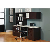 "Desk Workstation 84""W x 24""D x 66""H Mocha Finish"