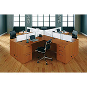 "DMI Quad Workstation - 144""W x 144""D x 41""H - Honey Maple - Causeway Series"