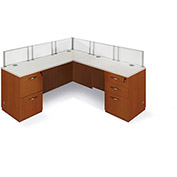 "Single Workstation L Desk 72""W x 72""D x 41""H Honey Maple Finish"