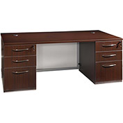"66"" Junior Executive Desk with White Glass 66""W x 30""D x 30""H Mahogany Finish"