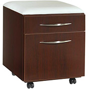 "DMI Mobile Pedestal with Seat Cushion - 18""W x 18""D x 19""H - Mahogany - Causeway Series"