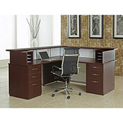 "72"" Left Reception Desk with Glass Mahogany Panels 72""W x 84""D x 42-1/4""H Mocha Finish"
