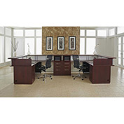 "DMI Double Reception L Desk - 144""W x 84""D x 42-1/4""H - Mahogany  - Causeway Series"
