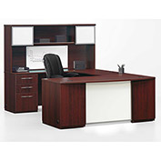 "Left U Desk Workstation 72""W x 108""D x 66""H Mahogany Finish"