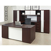 "Right U Desk Workstation 120""W x 108""D x 66""H Mahogany Finish"