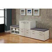 "Benching Storage Wall with Highway Cushions 108""W x 24""D x 40""H White"