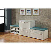 "Benching Storage Wall with Ocean Cushions 108""W x 24""D x 40""H White"