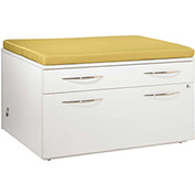"""Bench Height Box/Lateral File Pedestal with Palace Cushion 36""""W x 24""""D x 22""""H White Finish"""