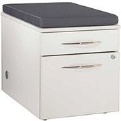"""Bench Height Box/File Pedestal with Highway Cushion 18""""W x 24""""D x 22""""H White Finish"""