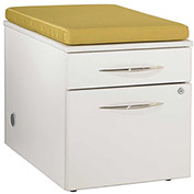 """Bench Height Box/File Pedestal with Palace Cushion 18""""W x 24""""D x 22""""H White Finish"""