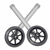 "Universal 5"" Walker Wheels, Silver Tubing, Gray Tire and Silencer, 1 Pair"