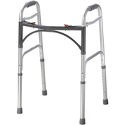 "Drive Medical Deluxe Two Button Folding Walker, 15-1/2""L x 22""W, 32"" - 39""H, Silver"