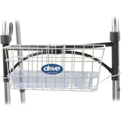 Drive Medical Walker Basket 10200B, Included Plastic Insert Tray & Cup Holder, Aluminum, White
