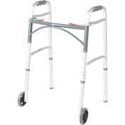 "Drive Medical Deluxe Two Button Folding Walker with 5"" Wheels, 17-1/2""L x 24""W, 32""- 39""H, Silver"
