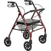 Heavy Duty Bariatric Rollator Walker with Large Padded Seat, Red