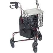 """Drive Medical 10289RD Deluxe 3-Wheel Aluminum Rollator with 7.5"""" Casters, Flame Red"""