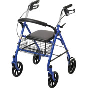"""Drive Medical 10257BL-1 Durable 4-Wheel Rollator with 7.5"""" Casters, Blue"""