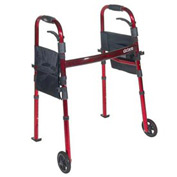 "Deluxe Portable Folding Travel Walker with 5"" Wheels and Fold up Legs"